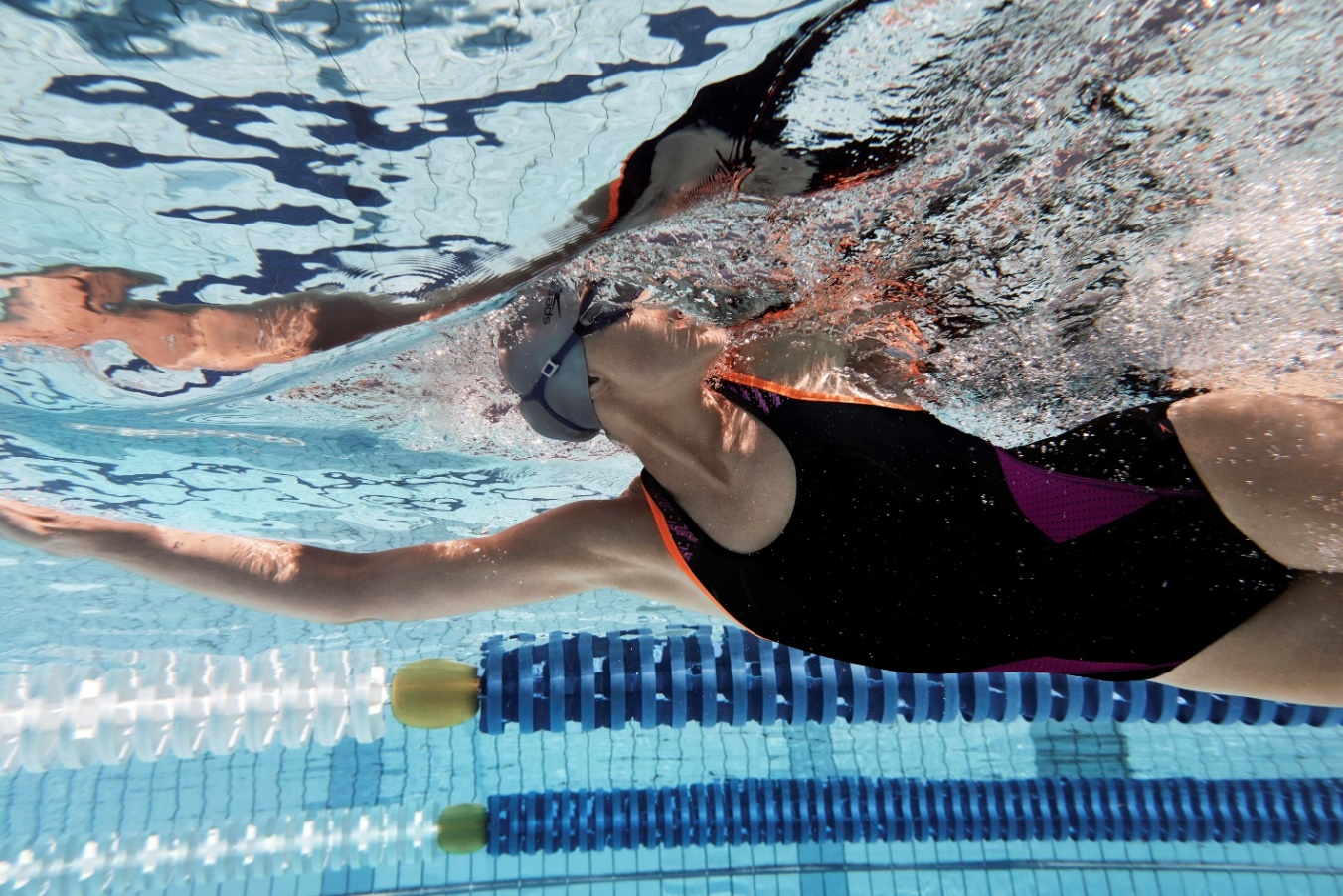 A swimmer in action