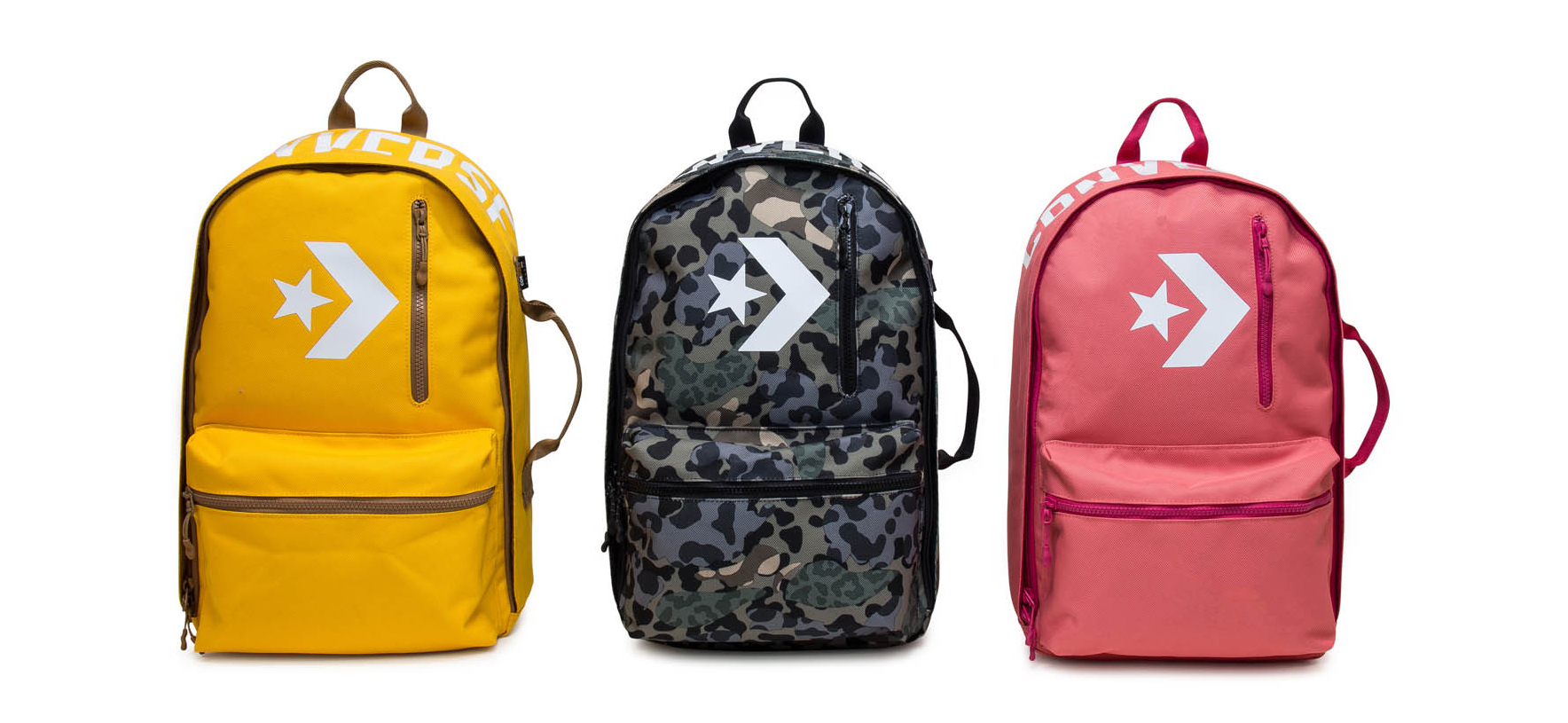 Three converse bags of different colors displayed side-by-side